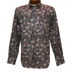 Men's Luchiano Visconti Signature Collection Multicolor Paisleys Long Sleeve Sport Shirt #43108 Grey/Multi