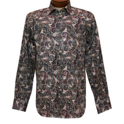Men's Luchiano Visconti Signature Collection Multicolor Paisleys Long Sleeve Sport Shirt #43108 Grey/Multi