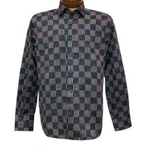 Men's Luchiano Visconti Signature Collection Vertical Lines Woven Long Sleeve Sport Shirt #4393 Black/Multi