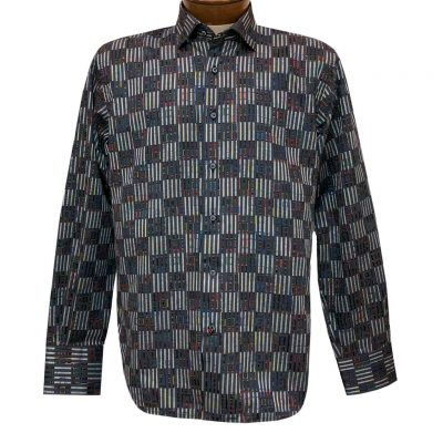 Men's Luchiano Visconti Signature Collection Vertical Lines Woven Long Sleeve Sport Shirt #4393 Black/Multi