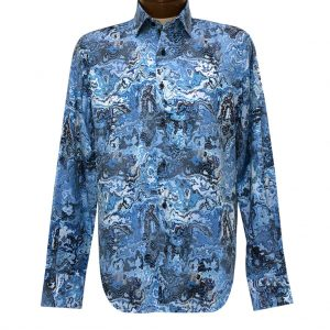 Men's Luchiano Visconti Signature Collection Marble Print Long Sleeve Sport Shirt #4376 Blue/Multi (L & XL, ONLY!)
