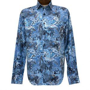 Men's Luchiano Visconti Signature Collection Marble Print Long Sleeve Sport Shirt #4376 Blue/Multi
