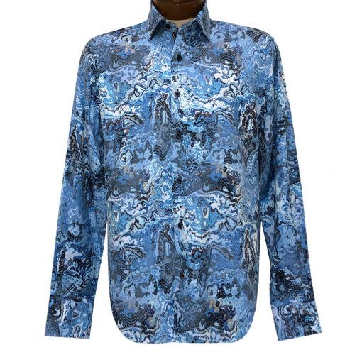Men's Luchiano Visconti Signature Collection Marble Print Long Sleeve Sport Shirt #4376 Blue/Multi