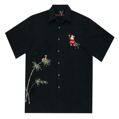 Men's Bamboo Cay Short Sleeve Embroidered Limited Addition Christmas Shirt, Flying Santa #SN2023, Black