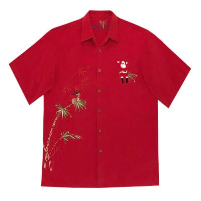 Men's Bamboo Cay Short Sleeve Embroidered Limited Addition Christmas Shirt, Flying Santa #SN2023, Red