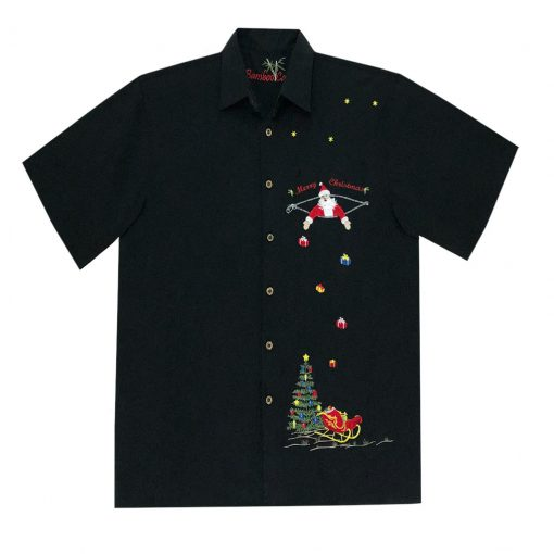 Men's Bamboo Cay Short Sleeve Embroidered Limited Addition Christmas Shirt, Santa's Presents #SN2020 Black