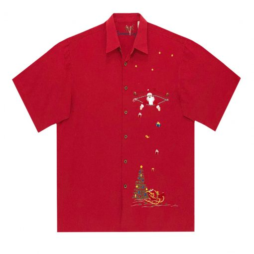 Men's Bamboo Cay Short Sleeve Embroidered Limited Addition Christmas Shirt, Santa's Presents #SN2020 Red