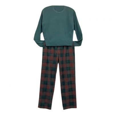 Men's Basic Options Corduroy Yarn Dyed Plaid Lounge Pants, #41043-6A Rust/Hunter