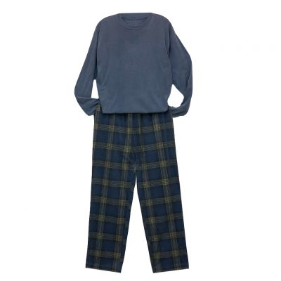 Men's Basic Options Corduroy Yarn Dyed Plaid Lounge Pants, #41043-83B Navy/Yellow