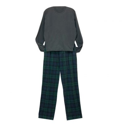 Men's Basic Options Corduroy Yarn Dyed Plaid Lounge Pants, #42045-4A Hunter/Navy