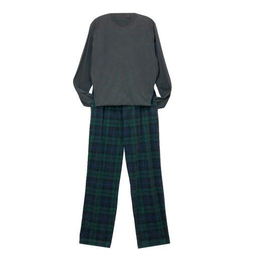 Men's Basic Options Corduroy Yarn Dyed Plaid Lounge Pants, #42045-4A Hunter/Navy