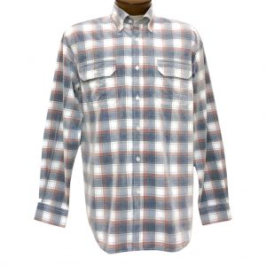 Men's F/X Fusion Long Sleeve Washed Plaid Corduroy Sport Shirt #FW109 Rust/Navy (XXL, ONLY!)