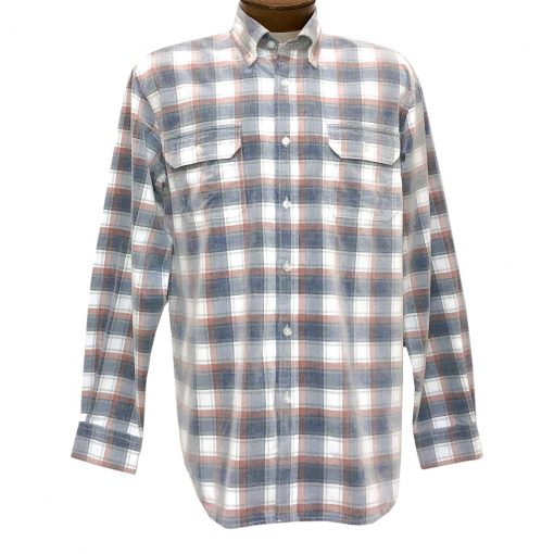Men's F/X Fusion Long Sleeve Washed Plaid Corduroy Sport Shirt #FW109 Rust/Navy