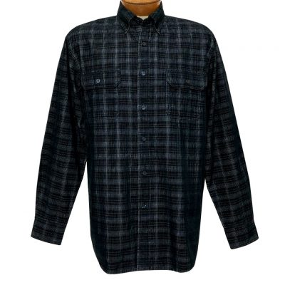Men's F/X Fusion Long Sleeve Washed Plaid Corduroy Sport Shirt #FW110 Navy/Brown