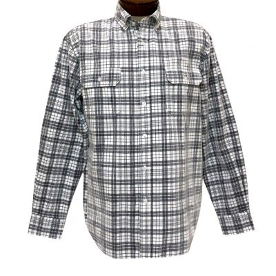 Men's F/X Fusion Long Sleeve Washed Plaid Corduroy Sport Shirt #FW111 White/Black