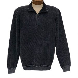 Men's F/X Fusion 100% Cotton Enzyme Washed 1/4 Zip Mock Neck Sweater #3038 Black (XL & XXL, ONLY!)