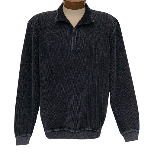 Men's F/X Fusion 100% Cotton Enzyme Washed 1/4 Zip Mock Neck Sweater #3038 Black