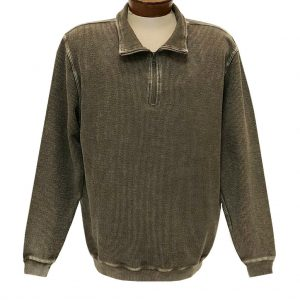 Men's F/X Fusion 100% Cotton Enzyme Washed 1/4 Zip Mock Neck Sweater #3038 Eco Taupe (M, ONLY!)
