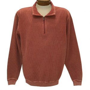 Men's F/X Fusion 100% Cotton Enzyme Washed 1/4 Zip Mock Neck Sweater #3038 Paprika (XL & XXL, ONLY!)