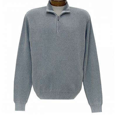 Men's F/X Fusion Sweater 100% Cotton Baby Thermal Sand Washed 1/4 Zip Mock Neck #806 Grey