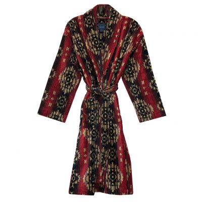 Majestic International Gifted Terry Velour Southwest 100% Cotton Shawl Collar Robe, Red