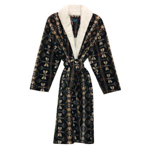 Majestic International Casa Contentment South West Plush Fleece Shawl Collar Robe, Natural