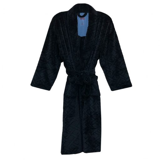 Majestic International Crossdroads Jacquard Solid Plush Fleece Shawl Collar Robe, Black