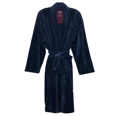 Majestic International Crossdroads Jacquard Solid Plush Fleece Shawl Collar Robe, Navy