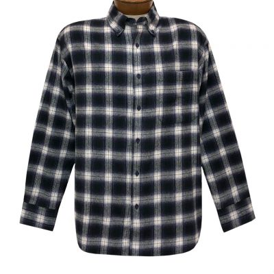 Men's Woodland Trail By Palmland Long Sleeve 100% Cotton Plaid Flannel Shirt #5900-205 Navy