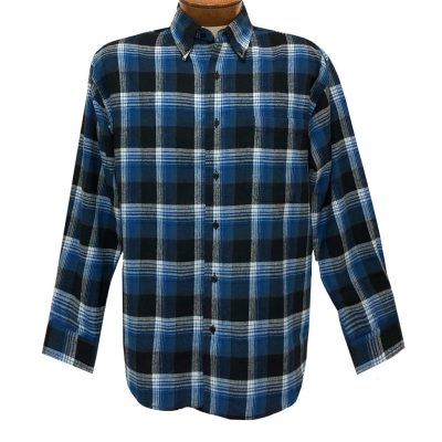Men's Woodland Trail By Palmland Long Sleeve 100% Cotton Plaid Flannel Shirt #5900-208 Royal