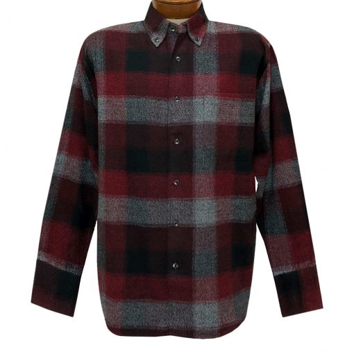Men's Woodland Trail By Palmland Long Sleeve 100% Cotton Plaid Flannel Shirt #5900-209 Burgundy
