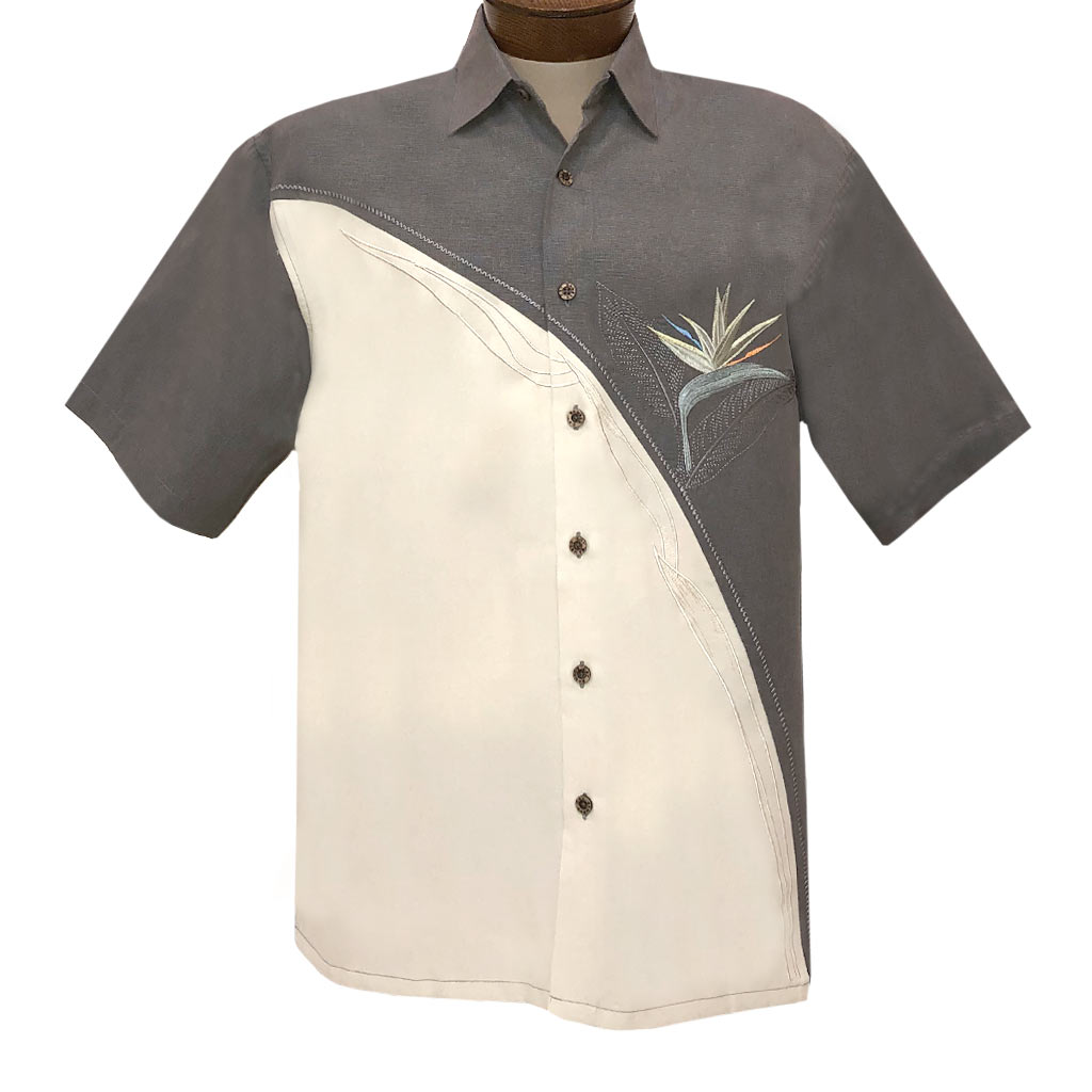 Men's Bamboo Cay Short Sleeve Embroidered Modal Blend Shirt, Crescent Bird Of Paradise #WB5 Med. Grey