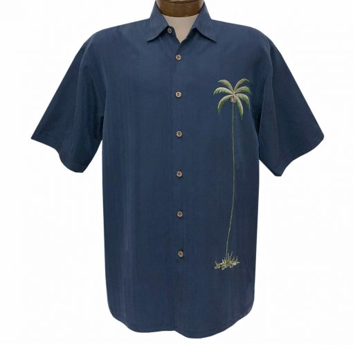 Men's Bamboo Cay Short Sleeve Embroidered Shirt, Single Palm #WB1003T Navy