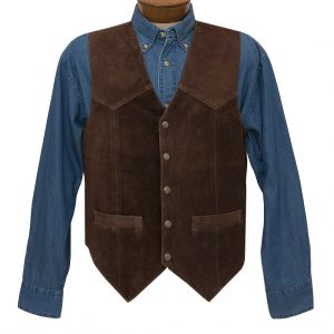 Men's Scully Calf Suede Classic All Leather Vest #507-262 Brown, Special Purchase