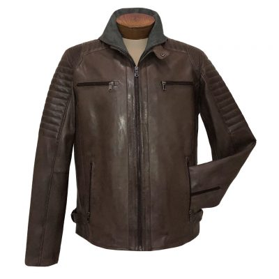 Men's Scully Premium Rugged Lambskin Leather Jacket With Zip Out Fornt And Hood #1085-154, Brown