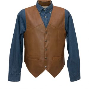 Men's Scully Lambskin Classic All Leather Vest #507-15 Saddle Tan, Special Purchase