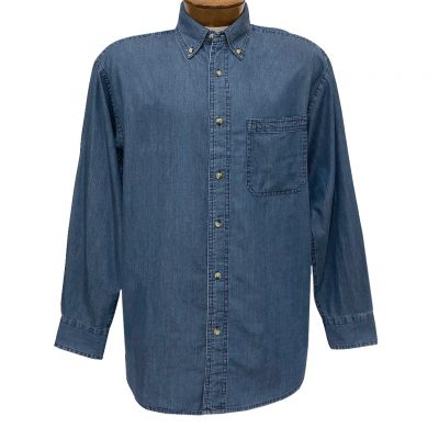 Men's Woodland Trail By Palmland Long Sleeve Denim 100% Cotton Shirt #DS-16 Light Blue