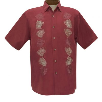 Men's Bamboo Cay Short Sleeve Embroidered Shirt, Vertical Salamanca #WB2024 Burgundy