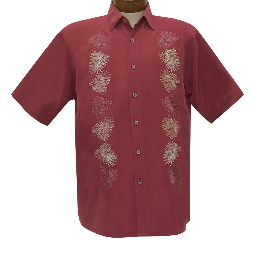 Men's Bamboo Cay Short Sleeve Embroidered Shirt, Vertical Salamanca #WB2024 Burgundy