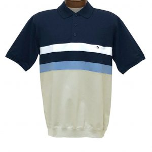 Men's Classics By Palmland Short Sleeve Horizontal Pieced Knit Banded Bottom Shirt #6190-326 Navy
