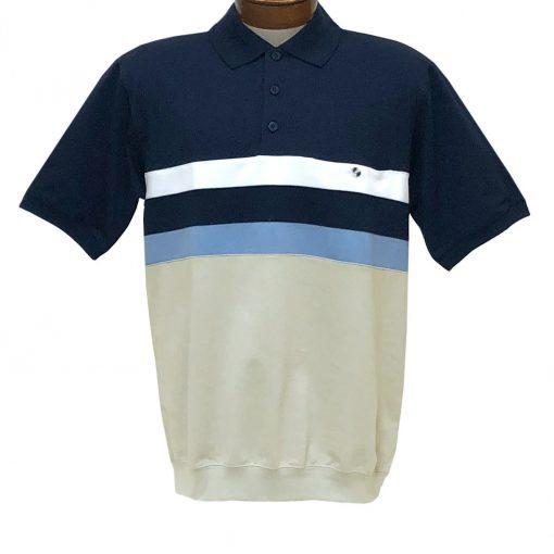 Men's Classics By Palmland Short Sleeve Horizontal Pieced Knit Banded Bottom Shirt #6190-326 Navy