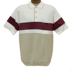 Men's Classics By Palmland Short Sleeve Horizontal Pieced Knit Banded Bottom Shirt #6190-328 Natural