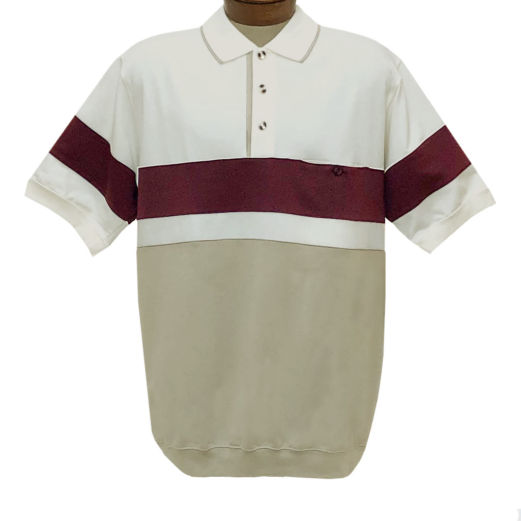 Men's Classics By Palmland Short Sleeve Horizontal Pieced Knit Banded Bottom Shirt #6190-328 Natural