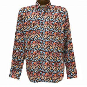Men's Luchiano Visconti Signature Collection Geometric Print Long Sleeve Sport Shirt #4458 Multi