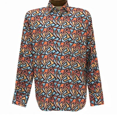 Men's Luchiano Visconti Signature Collection Geometric Print Long Sleeve Sport Shirt #4458 Multi