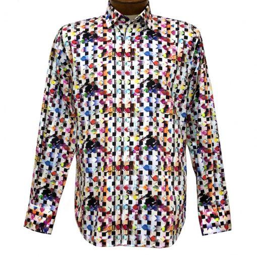 Men's Luchiano Visconti Signature Collection Geometric Print Long Sleeve Sport Shirt #4462 Multi