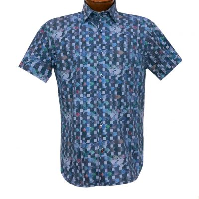 Men's Luchiano Visconti Signature Collection Knit Short Sleeve Fancy Sport Shirt, #4480 Blue Multi