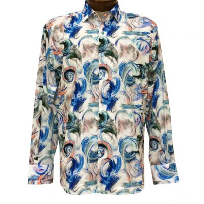 Men's Luchiano Visconti Signature Collection Abstract Print Long Sleeve Sport Shirt #4435 Multi