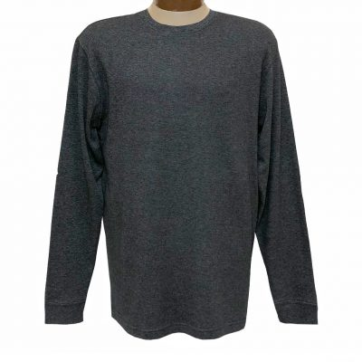 Men's Woodland Trail By Palmland Long Sleeve Birdseye Crew Neck Tee Shirt #5900-225, Charcoal