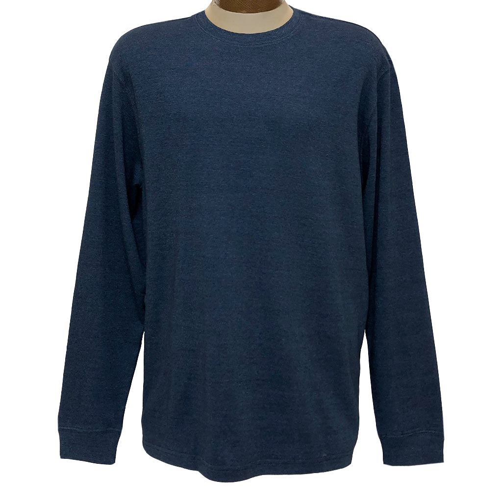 Men's Woodland Trail By Palmland Long Sleeve Birdseye Crew Neck Tee Shirt #5900-225, Slate Blue
